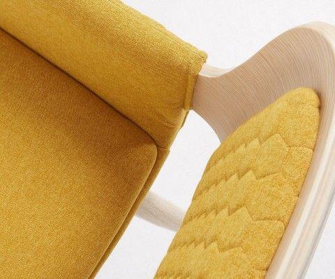 Fauteuil design nordique bois naturel tissu gris foncé DRE