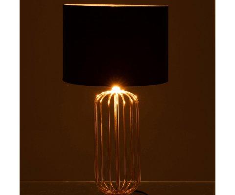 Lampe à poser art déco abat-jour noir pied métal doré LEANA