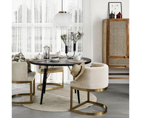 Table à manger ronde 120cm style art déco VIRAGE - Nordal