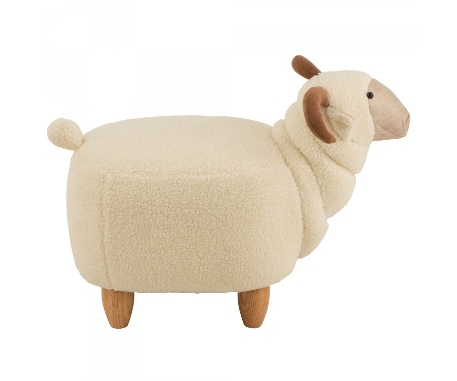Pouf enfant forme de mouton en tissu beige FIRMIN