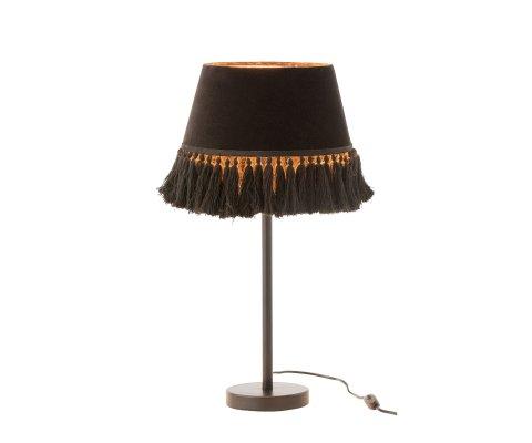 Lampe style rétro abat-jour tissu noir KOLKATA