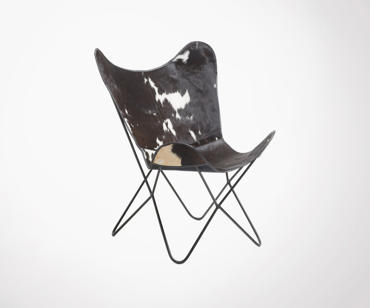 Butterfly design leather chair - cow skin - beautiful look