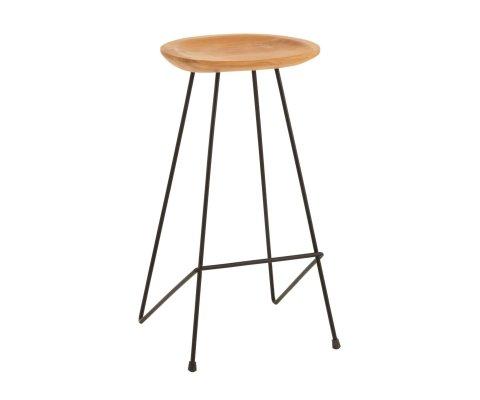 Tabouret minimaliste assise bois de teck SYDNEY
