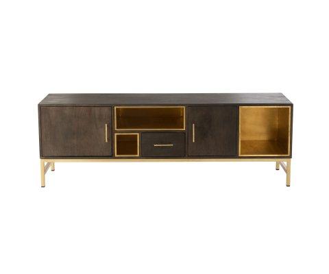 Meuble TV contemporain effet bois et métal doré CHICAGO