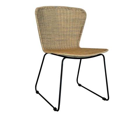 Chaise moderne en rotin naturel et métal noir PADANG