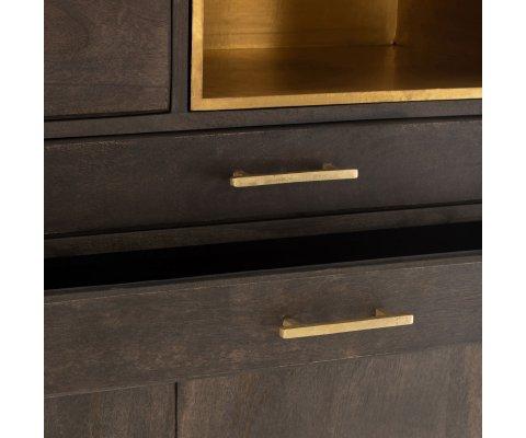 Buffet haut contemporain en bois et métal doré CHICAGO