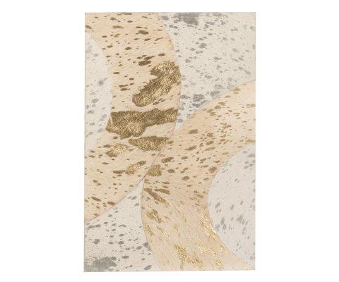Tableau moderne 40x60cm en cuir beige et doré ISAAC