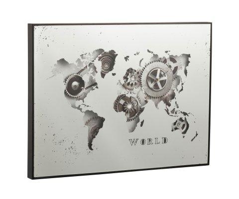 Tableau horloge mappemonde en miroir SULI