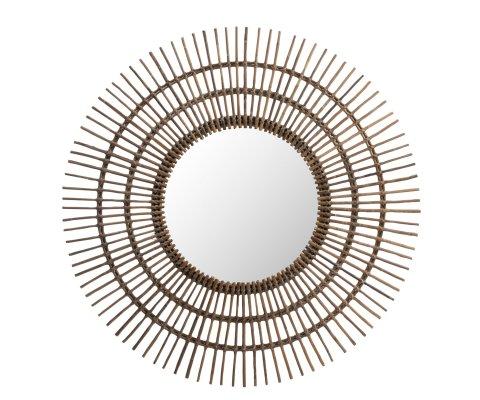 Miroir rond 120cm forme soleil en rotin MIRACLE