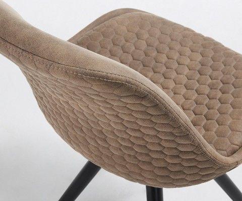 Chaise tissu rembourrée pied bois noir SCARLA