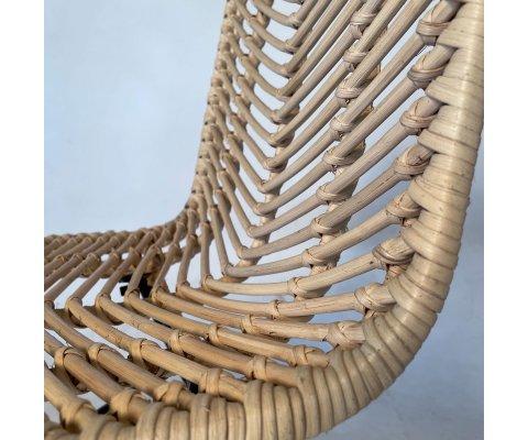 Chaise design en métal noir et rotin NIDO