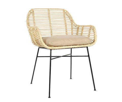 Chaise avec accoudoirs en rotin avec coussin LUBA