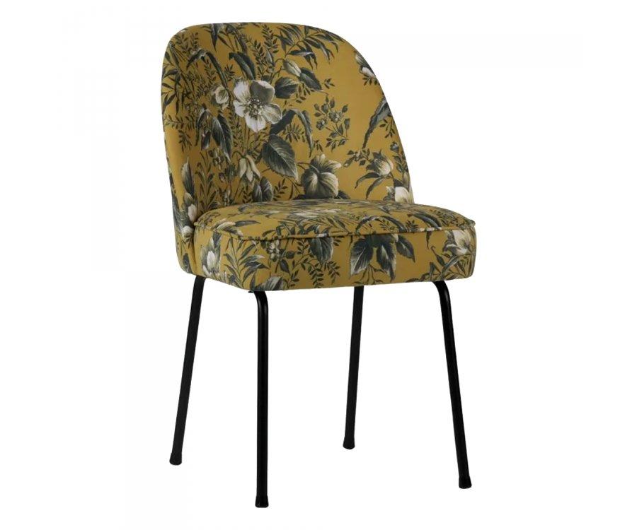 Chaise design crapaud velours fleuri VOGUE