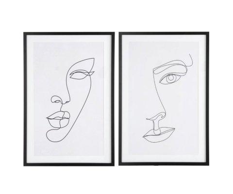 Lot de 2 tableaux visages abstraits 40x60cm LORACE