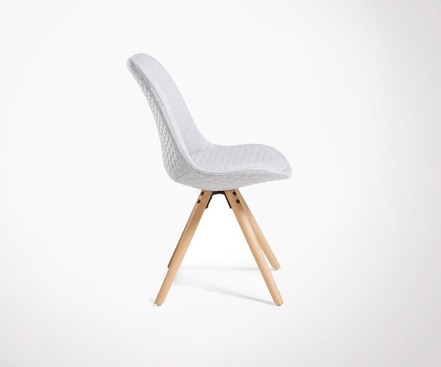 Chaise tissu gris foncé assise rembourrée capitonnée CURB