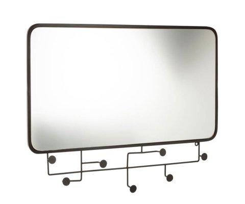 Miroir rectangulaire avec portants en métal noir 62,5x82cm KHAL