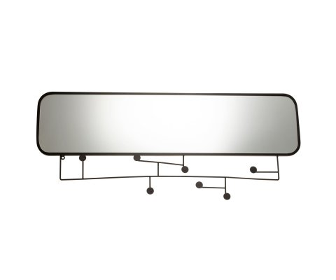 Grand miroir avec portants en métal noir 49x112cm KHAL