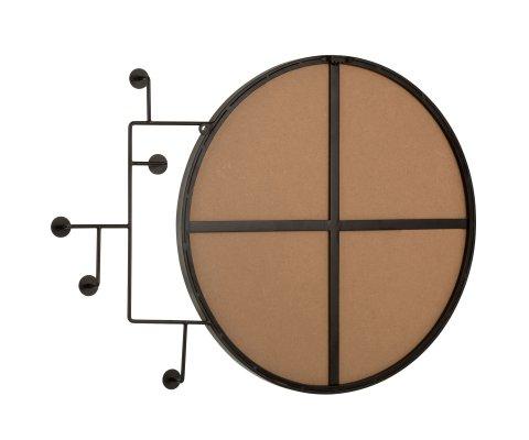 Miroir rond avec portants en métal noir 69x51cm KHAL
