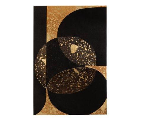 Tableau contemporain 60x90cm en cuir noir et doré ISEC