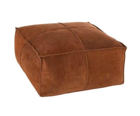 Pouf carré 50x50cm en cuir marron HULO