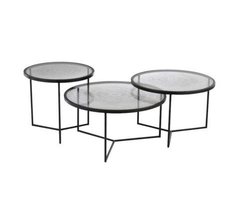 Lot de 3 tables gigognes rondes en verre VERA
