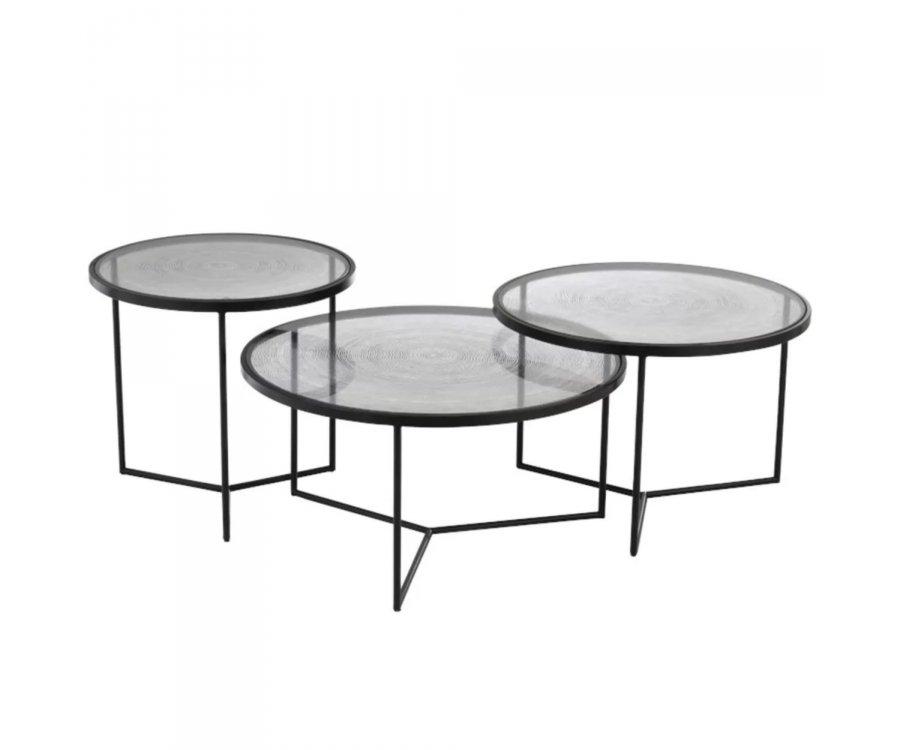 Set de 3 tables gigognes rondes métal et verre-VERA