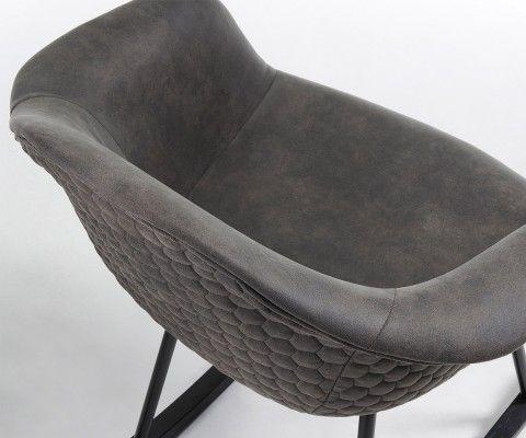 Fauteuil à bascule rocker noir assise tissu marron RON