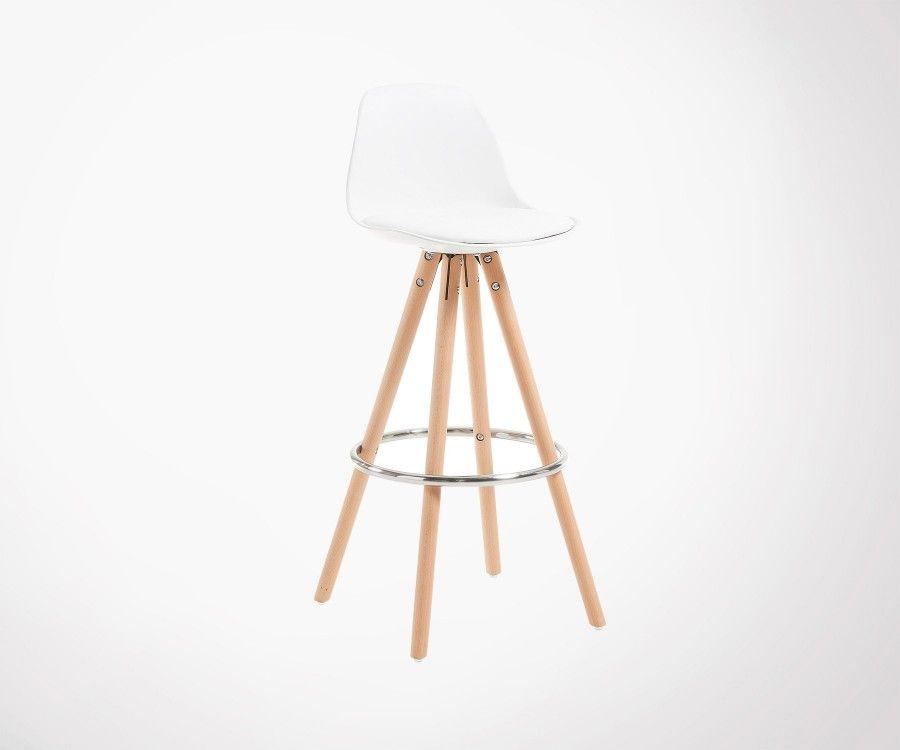 Chaise de bar coque plastique grise assise rembourrée GILI