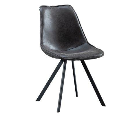 Chaise élégante en cuir noir-SWAN