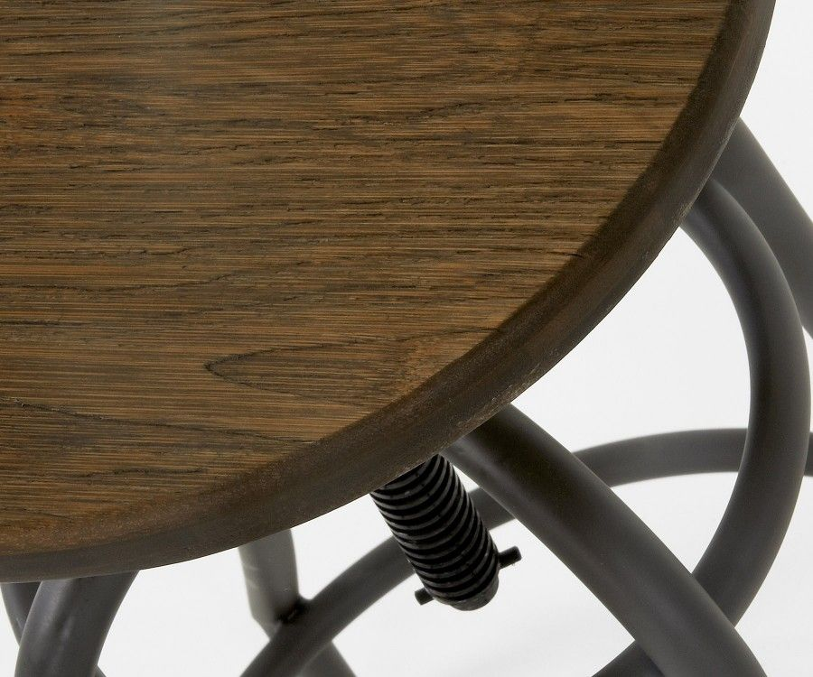 Tabouret métal blanc industriel assise bois réglable BUBU