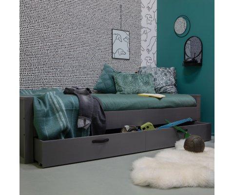 Tiroir de lit en bois gris MIKE