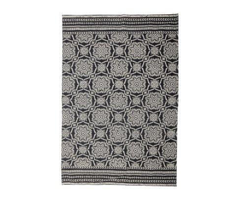 Tapis design en coton avec motifs noirs