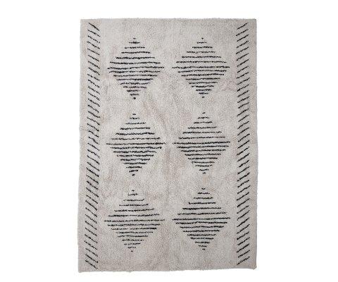 Tapis 200x140cm beige à motifs géométriques noirs JEGOR