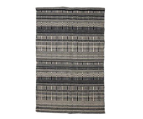 Tapis en laine 180x120cm à motifs noirs et blancs JOOB