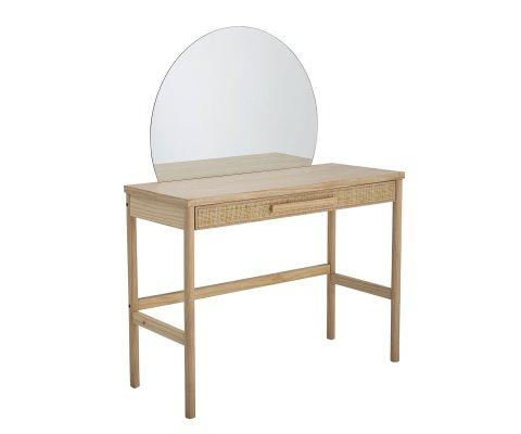 Coiffeuse 1 tiroir avec miroir rond en bois HORTENSE