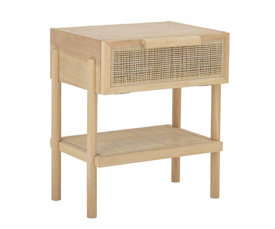 Table de chevet 1 tiroir en bois et rotin naturel TESS