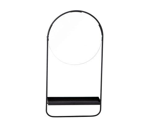 Miroir noir moderne avec petite étagère LIU