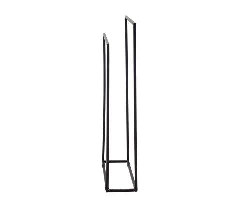 Porte serviette double forme rectangulaire en métal noir HAK