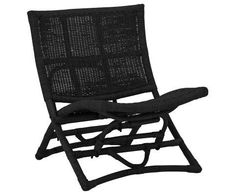 Chaise d'appoint vintage en rotin noir TARA