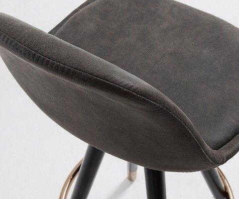 Chaise de bar design assise rembourrée marron GASTAMA