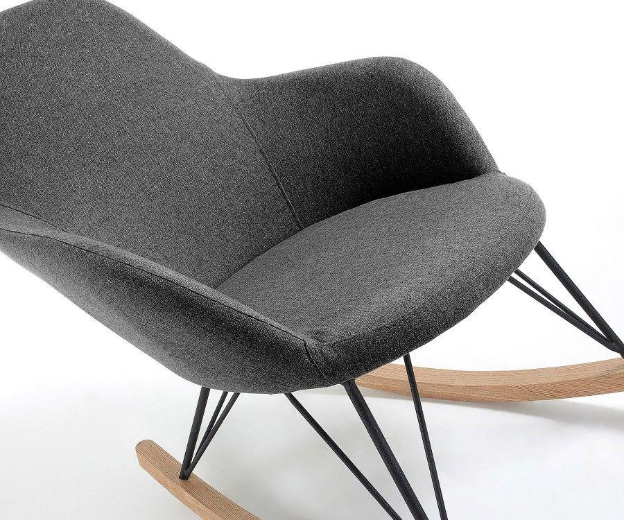 Fauteuil lounge à bascule tissu gris foncé CHILL