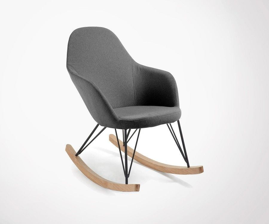 Lounge Rocking Chair In Grey Fabric Top Design And High Made - Fauteuil rocking chair