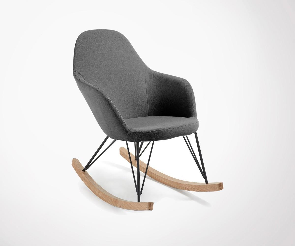 Fauteuil Bascule Lounge Tissu Gris Produit Design Haute Qualit