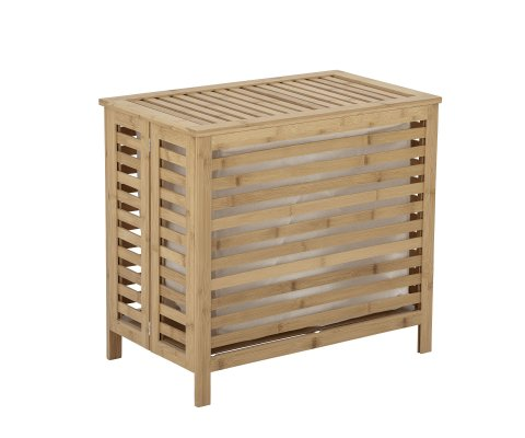 Panier à linge rectangulaire 51,5x56,5cm en bambou naturel ADEN