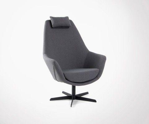 Fauteuil relax salon tissu gris foncé TRIBONO