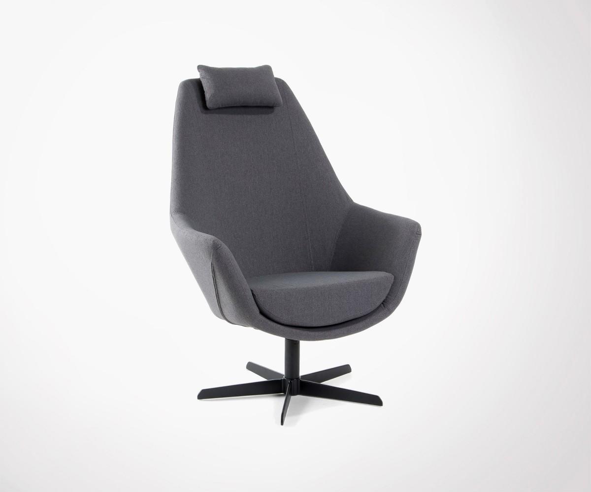 Fauteuil Relax Design Pivotant Tissu Gris Haute Qualité - Fauteuil salon tissu