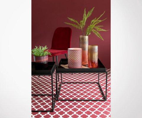 Lot 2 chaises design en tissu pieds métal SYCOL