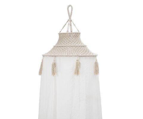 Ciel de lit en coton blanc bohème HUGH