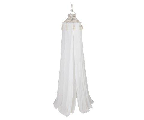 Ciel de lit bohème en tissu blanc HUGH