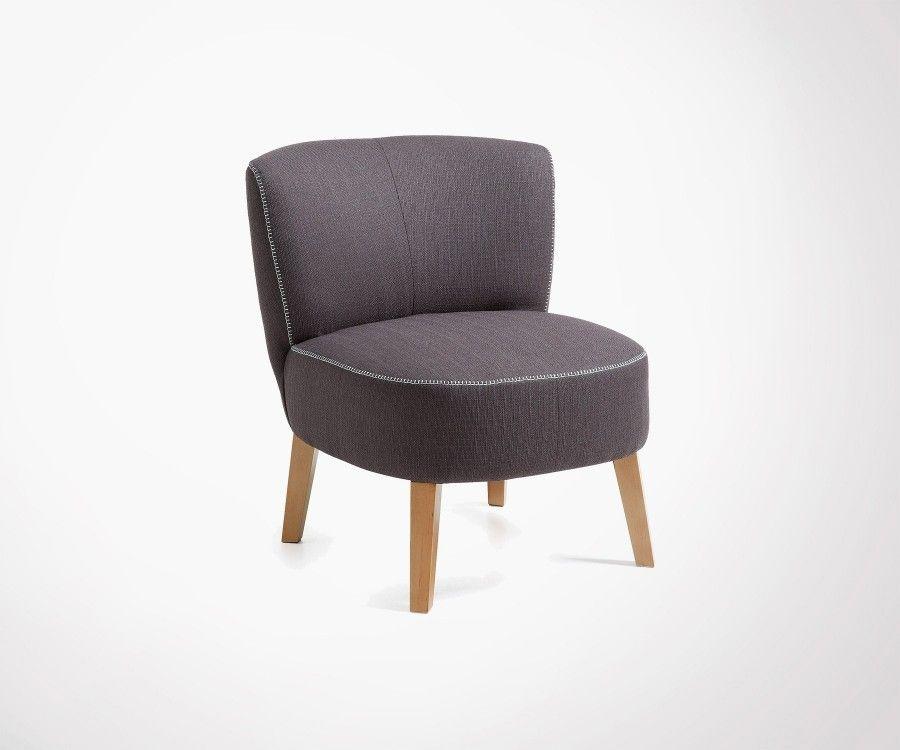 fauteuil crapaud tissu et pieds bois 2 couleurs. Black Bedroom Furniture Sets. Home Design Ideas
